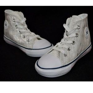 Girls converse all star white silver sparkles